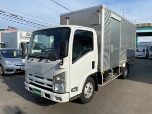 いすゞ エルフトラック ロングフルフラットロー 3トンアルミバン格納ゲート オートマ ETC ローン・リース月々43900円よりございます。