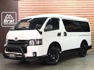 トヨタ ハイエースワゴン GL 4型 4WD ALPINEフリップダウンモニター&SDナビ フルセグTV DVD再生 Bluetoothオーディオ バックカメラ 片側パワースライドドア ビルトインETC 白革調シート 右後小窓