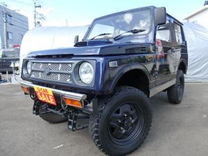 スズキ ジムニー ワイルドウインドリミテッド 4WD ターボ リフトアップ 前後社外バンパー マッドタイヤ シートカバー CD タイベル交換済み