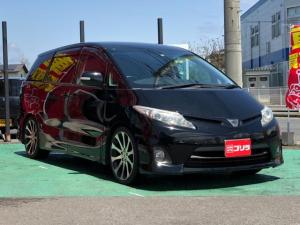 トヨタ エスティマ アエラス スマートキー 社外フルセグHDDナビTV 革調シートカバー RS-R車高調 オートクルーズ ビルトインETC