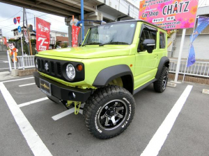 スズキ ジムニーシエラ JC 5MT 4WD 外品Fバンパー 新品外16AW新品タイヤ 3インチリフトUP  セーフティサポート スマートキー シートヒーター LEDライト 背面タイヤ