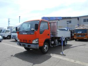いすゞ エルフトラック  タダノ3段クレーン2.9t吊 3トンワイドロング アルミアオリ 3段差違いアウトリガー スムーサー6速