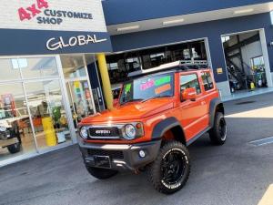 スズキ ジムニーシエラ JC GLOBALデモカー 3インチアップ サンセットオレンジ全塗装 クロスクロウ5本 9インチナビ テレビ フロントリヤカメラ