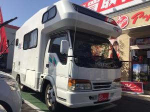 いすゞ エルフトラック  キャンピングカー ヨコハマモーター製 オックス サイドオーニング トイレ ガスレンジ リアクーラー 冷蔵庫 FFヒーター リアラダー リアWタイヤ