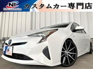 トヨタ プリウス S トヨタセーフティーセンス・新品車高調・新品19アルミ・新品タイヤ・新品シートカバー・オートクルーズコントロール・レーンキープ・安全ブレーキ・7インチナビ・Bluetooth・Bカメラ・ETC・衝突軽減