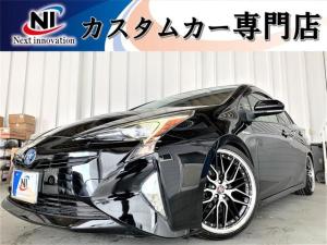トヨタ プリウス S 新品車高調・新品19アルミ・新品タイヤ・新品シートカバー・トヨタセーフティーセンス・オートクルーズ・レーンキープ・安全ブレーキ・純正ナビ・フルセグTV・Bluetooth・Bカメラ・ETC・ドラレコ・