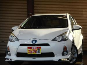 トヨタ アクア S ワンオーナー TRDエアロ LEDライト デイライト ガナドールマフラー 純正16インチアルミ SDナビ・フルセグ Bluetooth対応