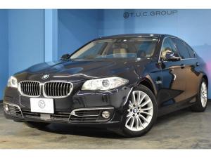 BMW 5シリーズ 523d ラグジュアリー 後期モデル 追従ACC 衝突軽減ブレーキ 車線逸脱&歩行車警告 ヒーター付ベージュ革 フルセグTV Bカメラ タッチパッド式iドライブHDDナビ アイドリングストップ ドラパフォ ウッドP 2年保証