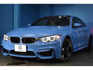 BMW M4 M4クーペ ヤスマリーナブルー シルバーストーンメリノレザー 可変Mサス HUD ハーマンカードン 19AW TOPビュー Pアシスト 衝突軽減ブレーキ 車線逸脱&歩行車警告 1オーナー 2年保証