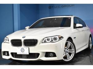 BMW 5シリーズ 523d Mスポーツ サンルーフ 追従ACC LEDヘッドライト 衝突軽減ブレーキ 車線逸脱&歩行者警告 黒革 フルセグTV リアPDC連動Bカメラ iストップ スマートキー タッチパッド式iドライブ 2年保証