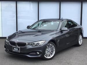 BMW 4シリーズ 420iグランクーペ ラグジュアリー 黒革電動シート前ドラレコ付きフロントシート-ヒーターCD/DVDクルーズコントロールUSB/AUX社外フルセグテレビSOSコール18インチアロイホイール後方障害物センサーバックカメラ
