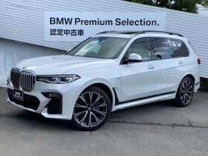 BMW X7 xDrive 35d Mスポーツ スカイラウンジサンルーフ リアエンターテイメント インディビジュアル22インチアルミ ウェルネスパッケージ ステアリングヒーター 6人乗り レーザーライト アイボリーレザー 5ゾーンエアコン 1オーナ