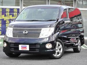 日産 エルグランド 2.5 250ハイウェイスター ブラックレザーエディション 4WD メーカー装着HDDツインナビ 両側オートスライドドア ブラックレザー キセノン インテリキー シートヒーター 寒冷地仕様