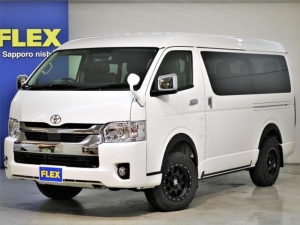 トヨタ ハイエースワゴン GL パールホワイト LEDヘッドライト デジタルインナーミラー インテリジェンスクリアランスソナー パノラミックビューモニター FLEX Ver2ベットアレンジ ナビ フリップダウン