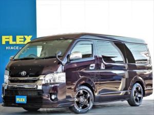 トヨタ ハイエースバン スーパーGL ダークプライム ベッドキット フロントスポイラー ナビ ETC LEDテールランプ ローダウン FLEXアルミホイール 100V電源コンセント