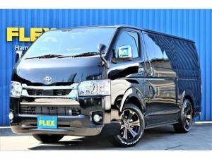 トヨタ ハイエースバン スーパーGL ダークプライムII ロングボディ FLEXオリジナルカスタム車両 4WD ディーゼル 寒冷地仕様 ナビ ETC PVM FLEXオリジナルホイール グッドイヤーナスカータイヤ FLEXオリジナルフロントスポイラー ローダウン済み