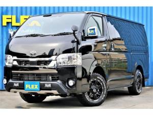 トヨタ ハイエースバン スーパーGL ダークプライムII ロングボディ TRDオフロードカスタム車両 TRDフロントスポイラー TRDマッドフリップ FLEX・DELF04ホイール TOYO・オープンカントリー SDナビ ビルトインETC PVM全方位カメラナビ連動加工済