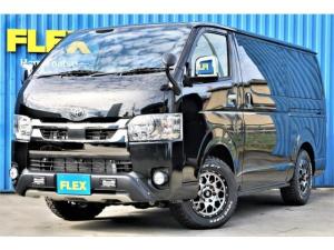 トヨタ ハイエースバン スーパーGL ダークプライムII ロングボディ TRDオフロードカスタム車両 TRDフロントスポイラーLED付き X-TREAM-Jホイール TOYOオープンカントリータイヤ SDナビ ビルトインETC PVM全方位カメラナビ連動加工