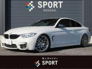 BMW 4シリーズ 420iクーペ Mスポーツ アダプティブクルーズコントロール M4ルックカスタム レムスマフラー M4フロントバンパー カーボン調ルーフラッピング カーボン調ミラーカバー 純正HDDナビ バックカメラ HIDヘッドライト