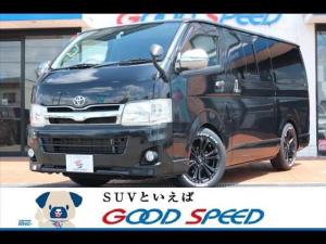 トヨタ ハイエースバン ロングスーパーGL SDナビ バックカメラ フルセグ AC100V リアエアコン フォグライト DVD再生 Bluetooth搭載 新品ジャベリン ホワイトレター ローダウン 両側スライドドア